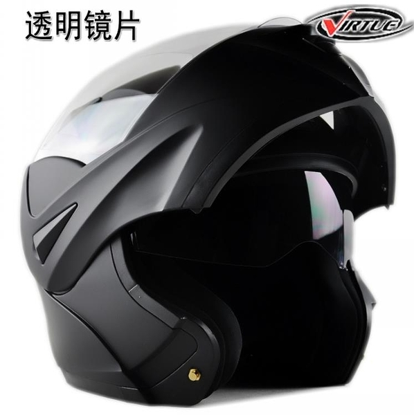 頭盔 VIRTUE四季摩托電動車賽車雙鏡片全盔跑盔冬盔揭半盔面盔保暖男女 夢藝家