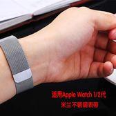 適用蘋果手錶表帶apple iwatch2/3米蘭尼斯表帶38/42mm金屬不銹鋼  遇見生活