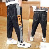 男童牛仔褲 大碼新款韓版童裝褲子兒童寬鬆牛仔褲黑色加厚加絨長褲 qf12161【黑色妹妹】