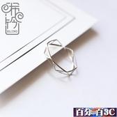 戒指 簡約潮人日韓個性學生食指戒指女指環純銀網紅開口銀戒指 百分百