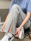 運動褲 開叉運動褲女夏季薄款2021新款春秋高腰直筒寬鬆灰色闊腿休閒衛褲 童趣屋 免運