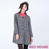 【RED HOUSE 蕾赫斯】黑白毛料雙口袋大衣(經典黑)