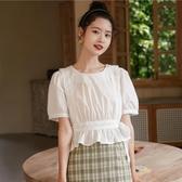 襯衫 短袖新款女雪紡衫上衣夏季白色法式設計感小眾心機收腰入秋