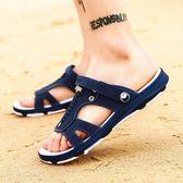 涼鞋男夏季半托塑膠一字男士拖鞋潮流夾趾涼拖防滑沙灘鞋 愛麗絲精品