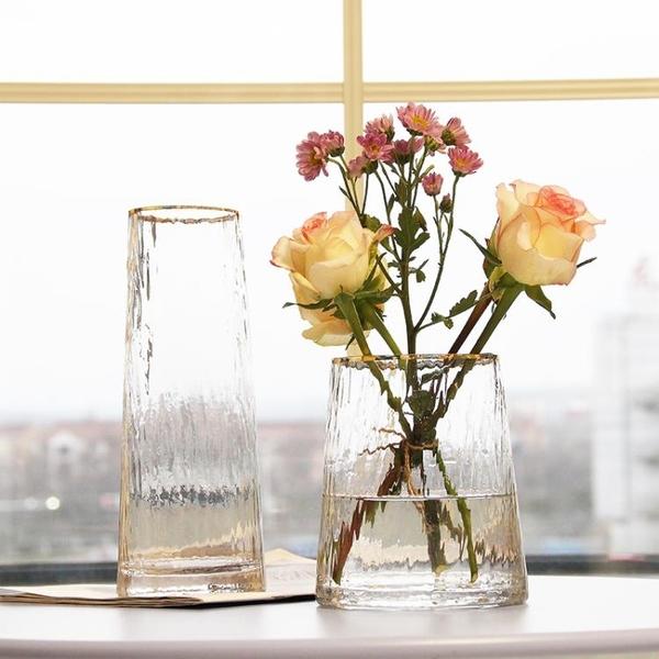 北歐輕奢玻璃花瓶透明 客廳 插花百合富貴竹玫瑰鮮花花瓶餐桌擺件 范思蓮恩