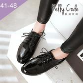 大尺碼女鞋-凱莉密碼-復古漆皮素面百搭小圓頭牛津鞋2.5cm(41-48)【HB258】黑色