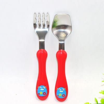 [yookidoo]可愛動物園安全兒童不繡鋼叉勺套裝 寶寶學習訓練筷餐具