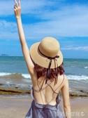 沙灘帽草帽女夏天小清新韓版百搭帽子海邊遮陽沙灘帽網紅防曬太陽漁夫帽 聖誕節