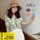 LULUS特價-Y格紋領綁帶短袖上衣-4色  【01190332】