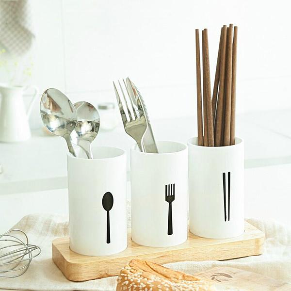BO雜貨【SV6492】歐式質感 橡木 餐具架  筷架 湯匙架 叉子架  置物盒 餐具收納 廚房用品 附底座