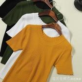 針織衫女2020新款春秋套頭一字領五分袖打底衫上衣冰絲薄款針織衫 漾美眉韓衣