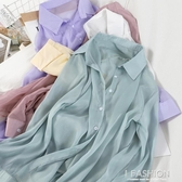 春夏時尚薄款防曬空調衫女氣質翻領單排扣襯衫中長款甜美雪紡衫潮【快速出貨】 7-2