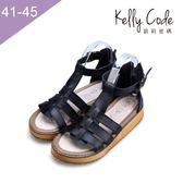 大尺碼女鞋-凱莉密碼-網狀羅馬全真皮厚底防滑平底涼鞋2.5cm(41-45)【AS666-12】黑色