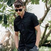 夏季新款男裝短袖襯衫潮流拼接修身黑色男士襯衣 QQ22143『MG大尺碼』