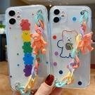 日韓SamSung S21手機套 鏈條小熊三星S21保護殼 透明少女Galaxy S21+保護套 可愛卡通三星S21 Ultra手機殼