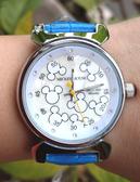 【卡漫城】 超級特價 米奇 皮革 手錶 水鑽 藍 ㊣版 皮革錶 迪士尼 Mickey 米老鼠 女錶 卡通錶 造型