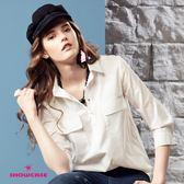 【SHOWCASE】雙口袋雞眼領釦七分袖襯衫(白)