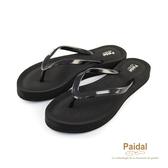 Paidal 簡約楔形膨膨氣墊美型厚底夾腳拖鞋涼鞋-黑