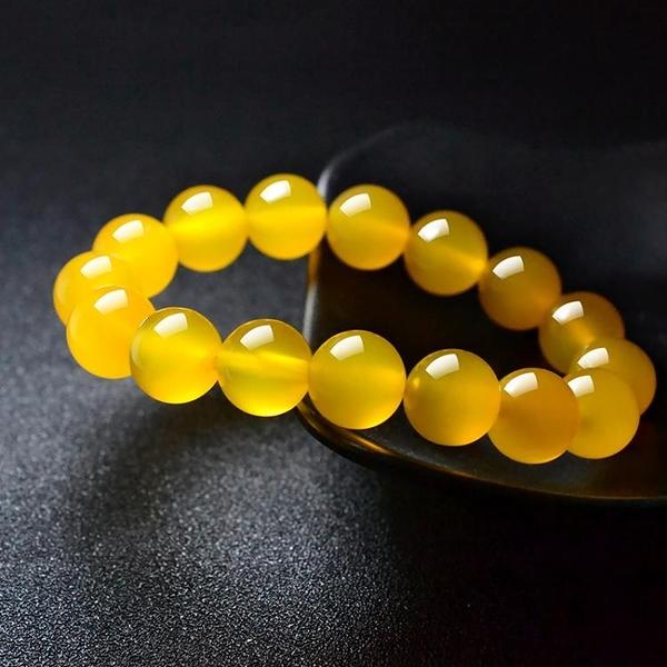 天然黃瑪瑙手鍊女黃色水晶