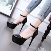 恨天高模特女鞋12cm/13cm超高跟單涼鞋細跟舞臺演出鞋走秀黑車模 夢娜麗莎