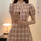 M-4XL大碼女裝胖MM復古格子改良版收腰旗袍連身裙1F121-A胖妞衣櫥
