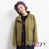 betty's貝蒂思 純色立領鋪棉外套(軍綠色)