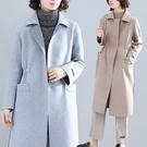 大口袋毛呢長版大衣 文藝簡約過膝外套 2色 L/XL碼【B215168】