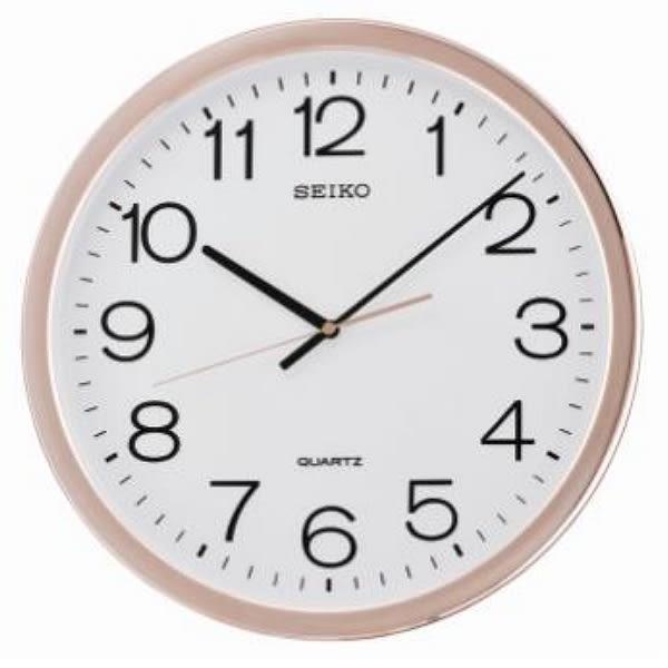 【時間光廊】SEIKO 日本 精工掛鐘 粉紅金屬光澤框 滑動式秒針 全新原廠公司貨 QXA620P