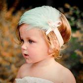 UNICO  歐美羽毛 兒童髮帶/嬰兒髮帶-淡藍