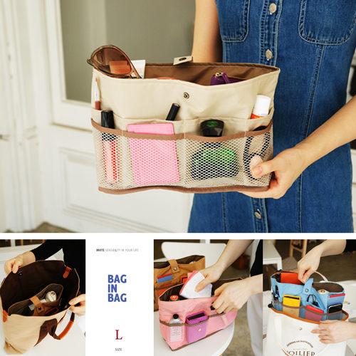 【韓國創意品牌 invite.L】L號 袋中袋 包包收納幫手 手機/7吋平板電腦/錢包/記事本收納 繽紛多彩