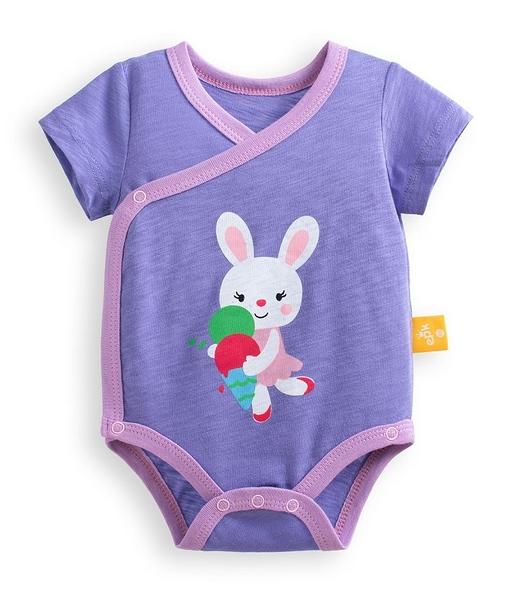 童裝 現貨 純棉/竹節棉印花款側開短袖包屁衣-深紫底小兔子【97124】