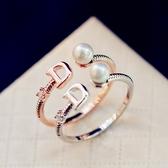 【NiNi Me 】韓系戒指氣質優雅字母D 小珍珠水鑽開口式戒指戒指F0017
