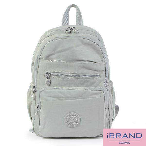 iBrand後背包 輕盈防潑水多口袋尼龍後背包-米白 MDS-8551