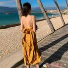 露背洋裝三亞沙灘裙2021新款海邊度假性感露背長裙顯瘦v領吊帶連身裙超仙 愛丫 免運