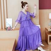 洋装 中大尺碼 2021夏新款大碼漢服胖MM200斤復古民族風刺繡紫色兩件套連身裙