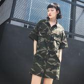 【全館】現折200夏季新款港風迷彩工裝短袖連身褲寬鬆拼色牛仔連衣褲短褲女
