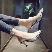 拖鞋女夏外穿韓版尖頭高跟鞋女
