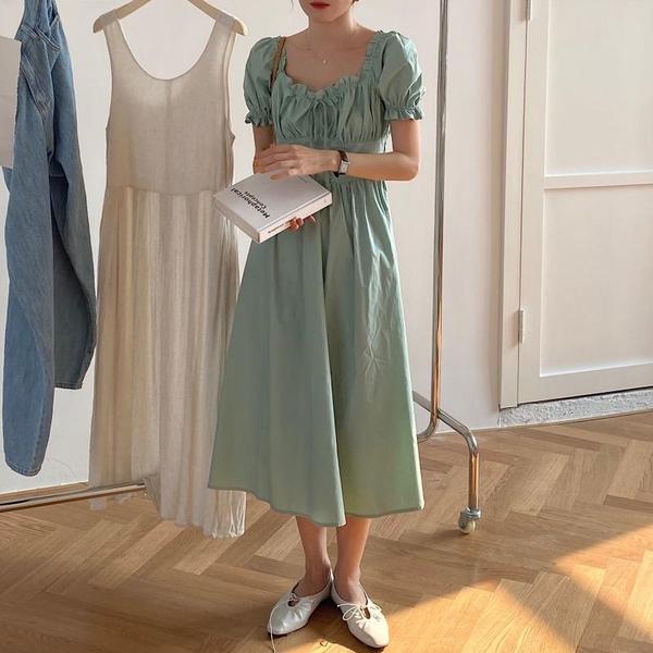 超殺29折 韓國風桔梗優雅長裙復古高腰系帶顯瘦泡泡短袖洋裝