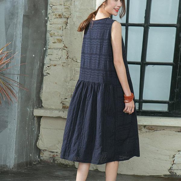 刺繡鏤空文藝蕾絲中長版洋裝-設計家