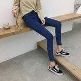 中大碼 2019夏季新款牛仔褲女破洞緊身小腳九分褲韓版高腰顯瘦鉛筆褲長褲