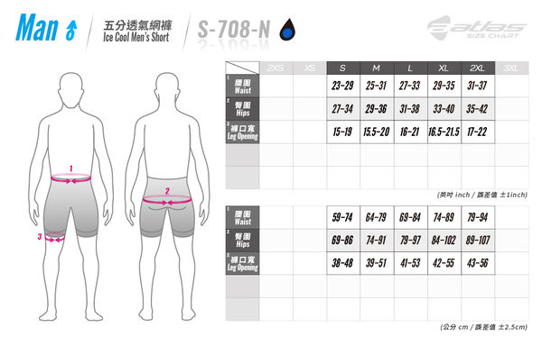 【亞特力士ATLAS】男五分透氣車褲(五代) 30℃~38℃ S-708-N(白)