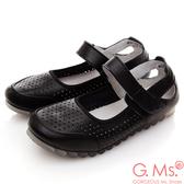 G.Ms.*  牛皮洞洞魔鬼氈繫帶休閒鞋*黑色