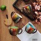 復古馬克杯大容量陶瓷杯帶蓋帶勺燕麥杯牛奶杯早餐杯創意咖啡杯子    【快速出貨】