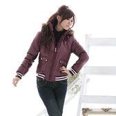 鋪棉連帽外套--冬天的基本必備款-PU亮面連帽條紋縮口鋪棉外套(黑.紫M-2L)-J46眼圈熊中大尺碼