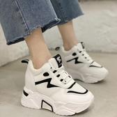 內增高女鞋10cm白色厚底鬆糕鞋2021春顯瘦高跟休閒運動鞋坡跟單鞋 百分百