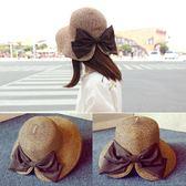 可折疊出口日本蝴蝶結混色編織漁夫帽草帽子夏季女出游沙灘帽