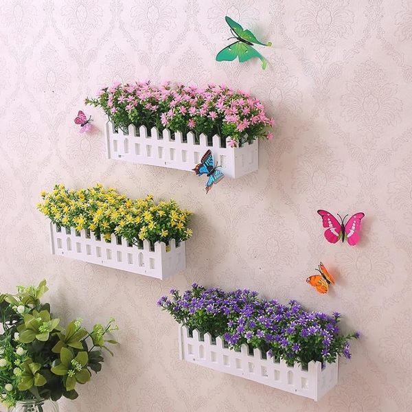 塑料仿真假花綠植墻上掛壁裝飾花藝吊蘭花藤植物家居擺件木柵欄花