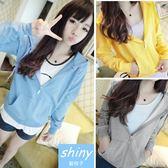 【V0183-29】shiny藍格子-瑕疵特賣.顯瘦百搭長袖薄款連帽外套