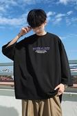 免運春季新款字母印花七分长袖T恤圆领短袖男夏季韩版潮流学生衣