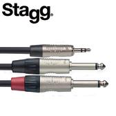 【敦煌樂器】STAGG NYC3-MPS2PR 3M Y型音源線 3.5mm 立體聲公頭 對 雙6.3mm 單聲道公頭